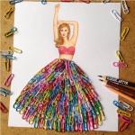 Edgar Artis hula paperclip dress papercut