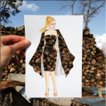 Edgar Artis wood pile dress papercut