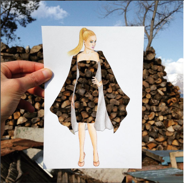 Edgar Artis wood pile dress papercut